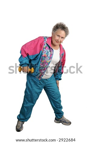 A full body view of a senior lady working out, stretching and using free weights.  Isolated on white. - stock photo