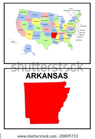 a full color map of the united states of america with the arkansas - stock photo