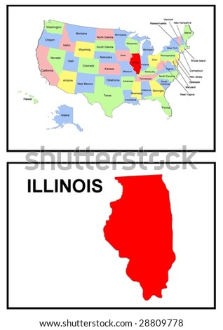 a full color map of the united states of america with the illinois - stock photo