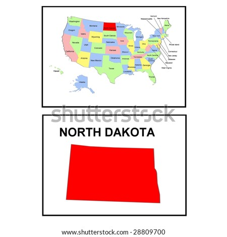 a full color map of the united states of america with the state north dakota - stock photo