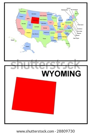 a full color map of the united states of america with the wyoming - stock photo