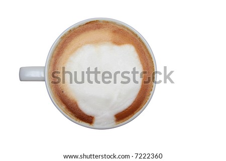 A full cup of espresso shot from above isolated on white with clipping path