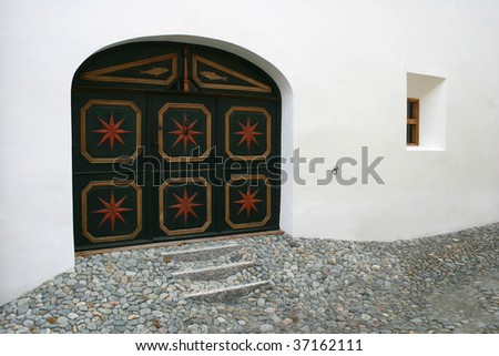 A full decorated swiss front door. - stock photo