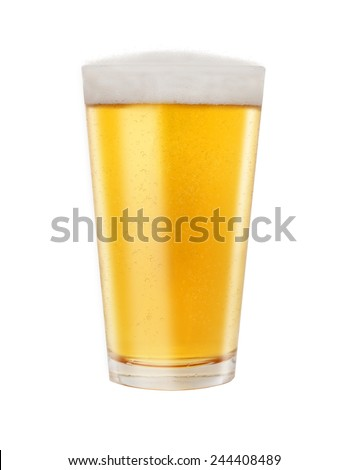 A full glass of golden color light beer isolated on a white background  - stock photo