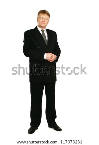 A full-lenght portrait of a businessman standing isolated on white background - stock photo