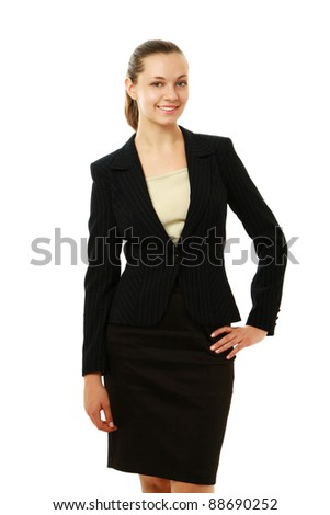 A full length of a businesswoman, standing isolated on white background