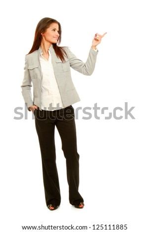 A full length portrait business woman shows something, isolated on white background - stock photo