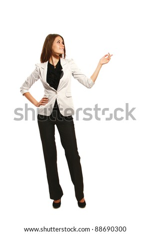 A full-length portrait of a businesswoman displaying with her arm, isolated on white background - stock photo