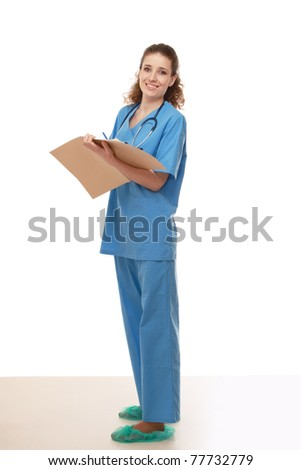 A full-length portrait of a female doctor - stock photo