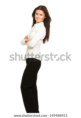 A full-length portrait of a successful businesswoman, isolated on white background - stock photo