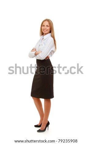 A full-length portrait of a successful businesswoman, isolated on white, side-view - stock photo