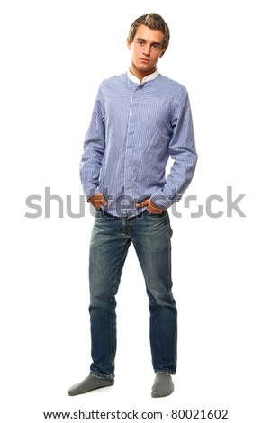 A full-length portrait of a young college guy, isolated on white - stock photo