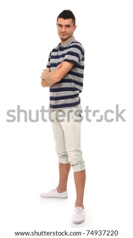 A full-length portrait of a young guy - stock photo