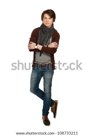 A full-length portrait of a young guy , isolated on white background - stock photo