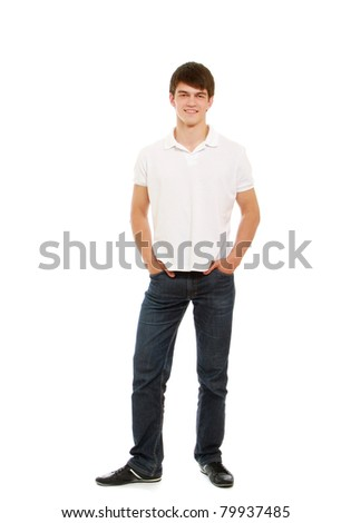 A full-length portrait of a young man, isolated on white - stock photo