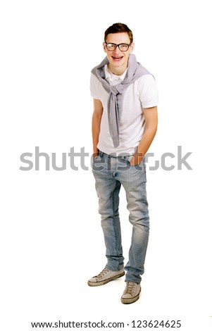 A full-length portrait of a young man, isolated on white background
