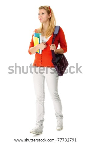 A full-length portrait young college girl with books - stock photo