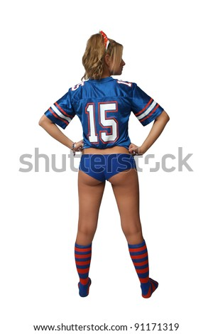 A full-length shot of a sexy young blonde wearing booty shorts and a football jersey with matching socks.  Isolated on a white background with generous copyspace. - stock photo