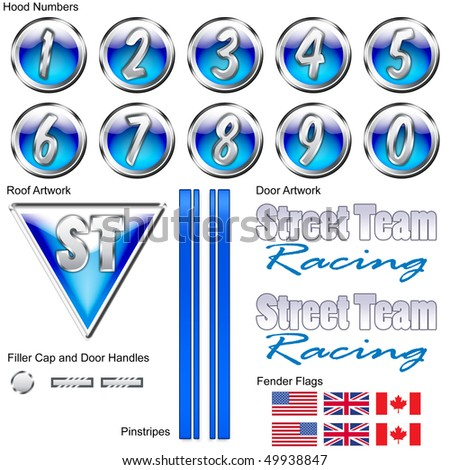 A Full Racing Decal Set for Hobby Cars - stock photo