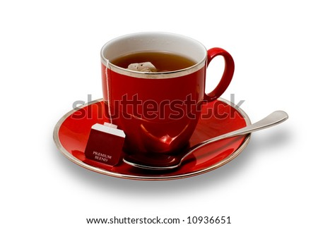 A Full Red Teacup and Saucer with Teabag Isolated on White - stock photo
