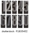 a full set of ten arabic numerals 0 to 9 in old grunge metal letterpress printing blocks isolated on white - stock photo
