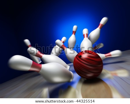 A fun 3d render of a bowling ball crashing into the pins - stock photo