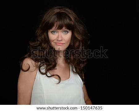 A Fun Image of a beautiful Woman In Studio - stock photo