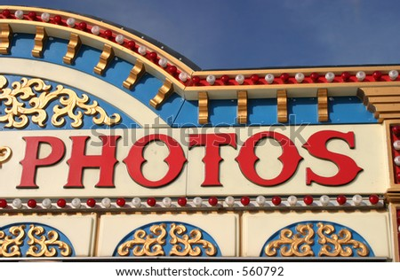 A fun photos sign at a fair. - stock photo