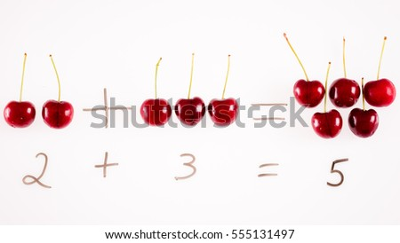 A fun way of illustrating that two plus three equals five using red cherries on a white background.