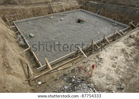 a fundament at a building site.... - stock photo