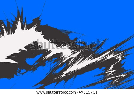 A funky illustration with bursting flare shapes isolated over blue. - stock photo