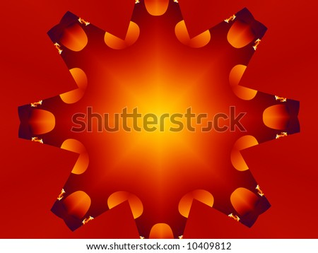 A funky polka dotted abstract fractal background in orange, yellow and red. - stock photo