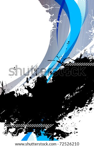 A funky splattered illustration with sprayed paint and funky shapes with plenty of copy space. - stock photo