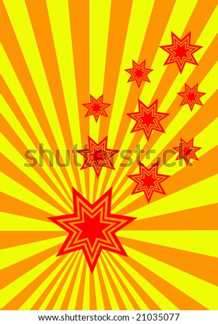A funky stars background illustration with red and orange stars on an orange and yellow sunburst background
