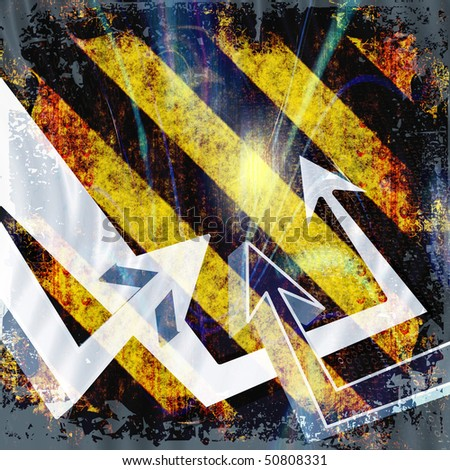 A funky urban layout with graffiti style arrows. This works great as a background. - stock photo
