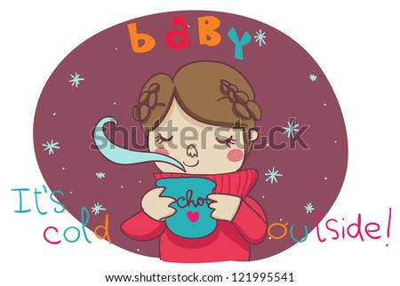 A funny cartoon illustration for a lovely wintertime: Baby, it's cold outside!