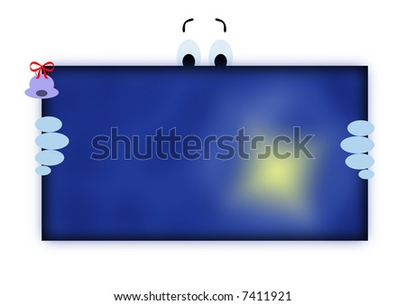 A funny Christmas card on blue background - stock photo