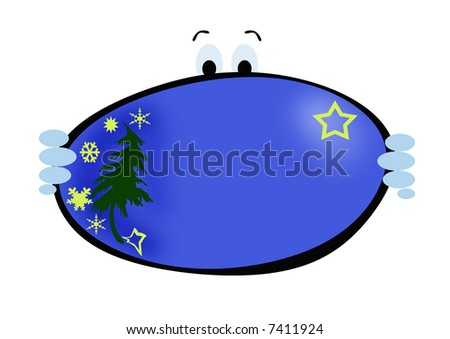 A funny Christmas card on blue background