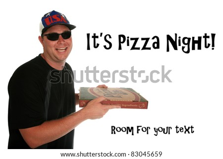 A funny happy pizza delivery man delivering a hot, fresh  pizza to you the hungry customer. Isolated on white with room for your text. shot with a fish eye lens for a fun image - stock photo