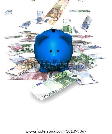 A funny piggybank or money-box with falling money (euro) - stock photo