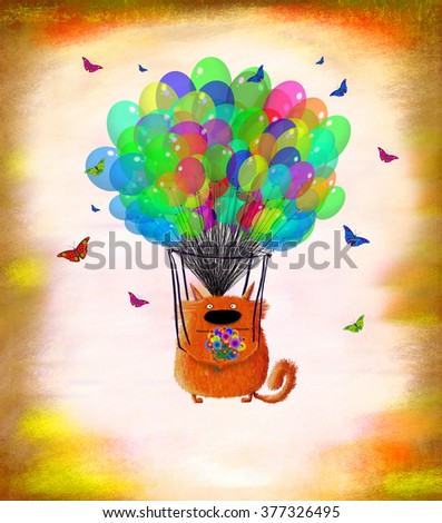 A funny red cat holding a nice bunch of flowers and flying on balloons surrounded by little butterflies. - stock photo