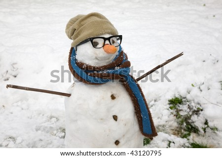 A funny snowman with spectacles, hat and scarf.
