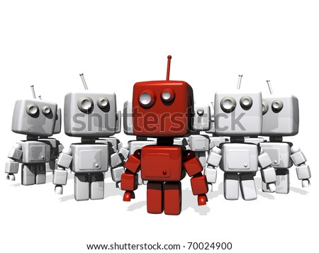 A funny, strong red robot leader; behind,  a lot of white robots follow it; white background. - stock photo