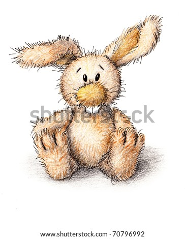 a funny toy bunny on white background - stock photo