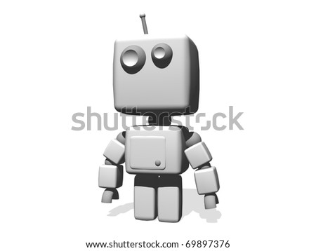 a funny white robot isolated on white background. - stock photo