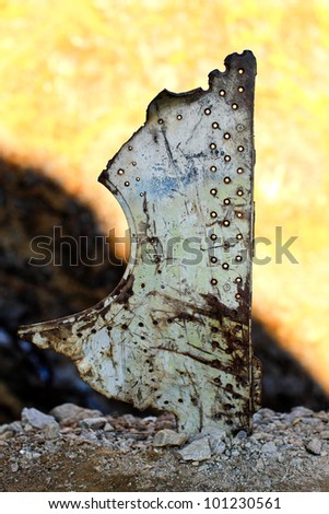a fuselage scrap drop from airplane after an airplane crackup - stock photo