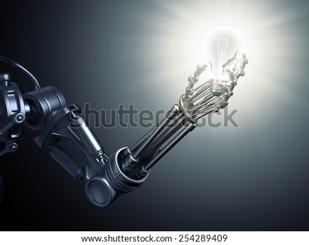 A futuristic android holding a lightbulb - stock photo