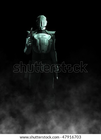 A futuristic police or robot holding a gun in each of its hands. Black background with fog coming from the ground. - stock photo