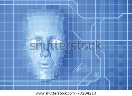A futuristic polygon face forming out of grid screen conceptual background. - stock photo