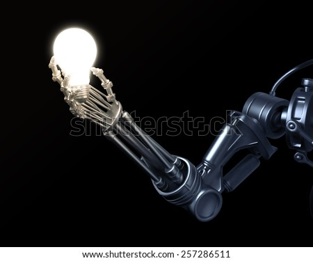 A futuristic robot holding a lightbulb - stock photo
